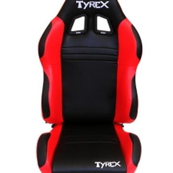 tyrex lederen kuipzetel rood en zwart